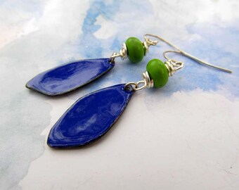 Blue earrings Enamel earrings dangle drop earrings Spring jewelry Summer earrings