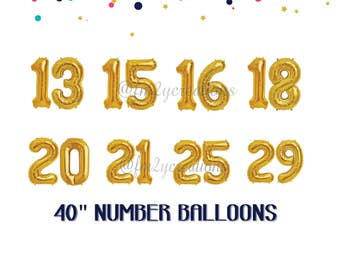 13th 15th 16th 18th Balloon Numbers | Milestone Birthday Gold Number Balloons | Party Supplies Birthday Number Balloons | Number Balloons