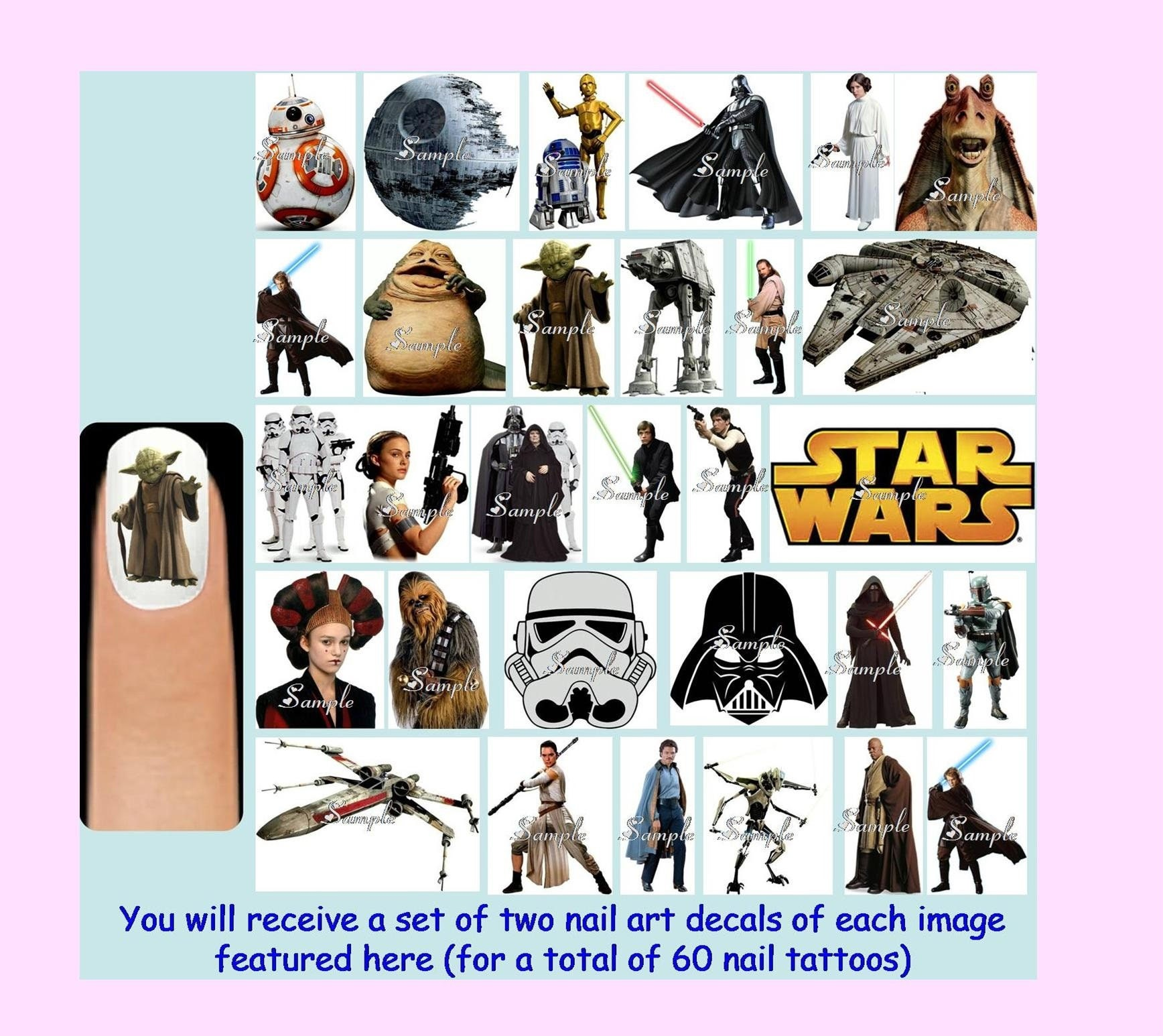 60 x STAR WARS Nail Art Decals + Free Rhinestones Disney Darth Vader ...