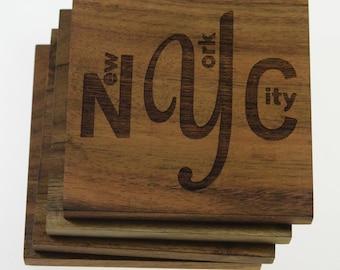 New York City NYC Coasters - Set of 4 Engraved Acacia Wood Coasters