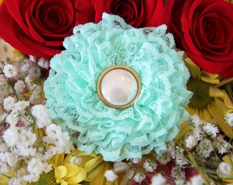 Mint Lace Flower Clip by Mademoiselle Mermaid