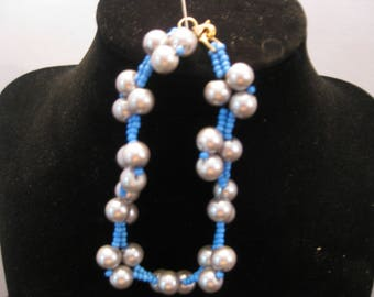 Blue & gray stitched bracelet 8 in.