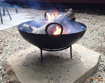 "Medium Stamped Steel Firebowl / Fire Pit From India W/ BBQ Grill Grate and Stand, 24"" Dia, Made From Recycled Steel, Outdoor Cooking, BBQ"