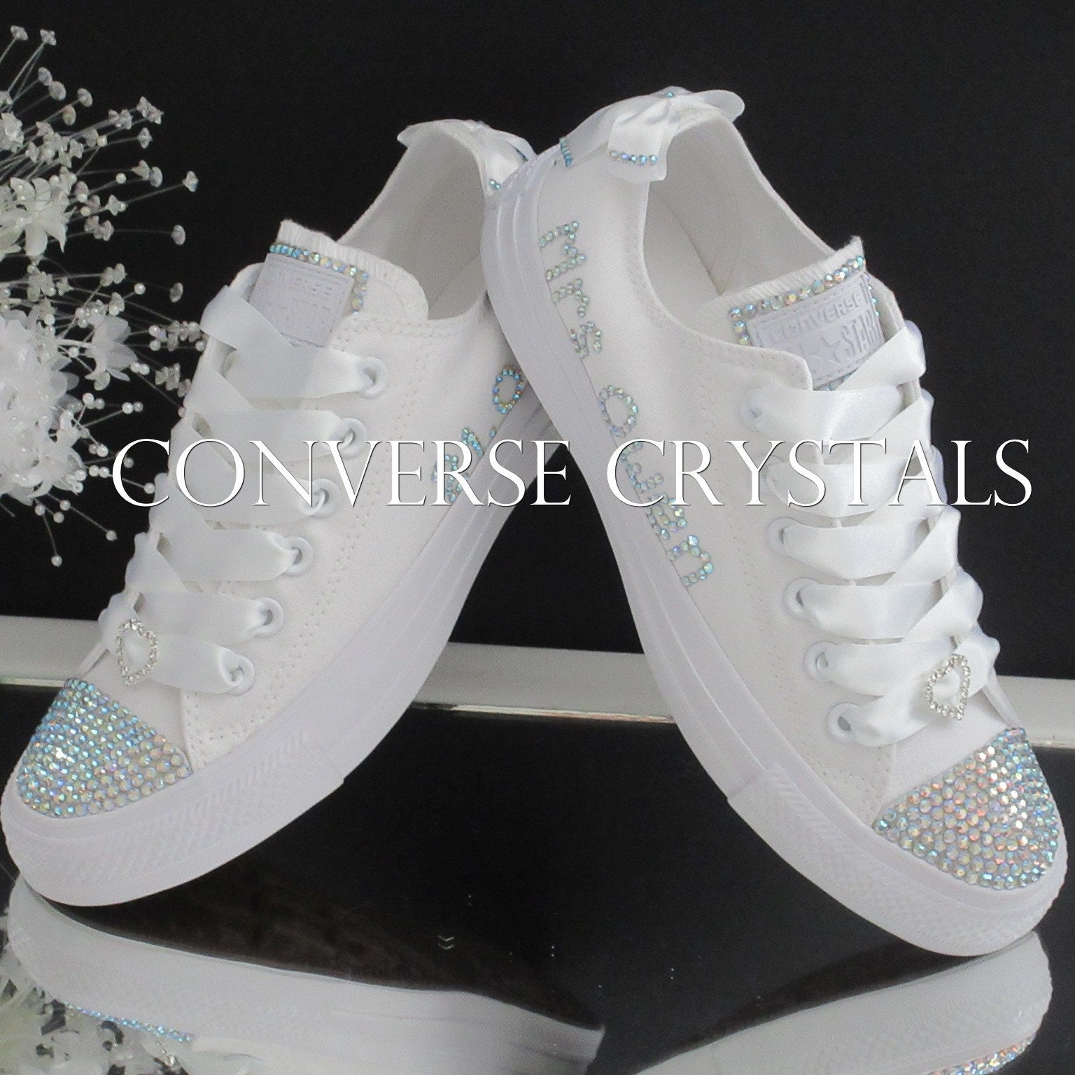 7620a09a055f Personalised Bridal Mono White Low Custom Crystal  Bling ...