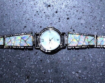 Vintage Native American White Opal Watch