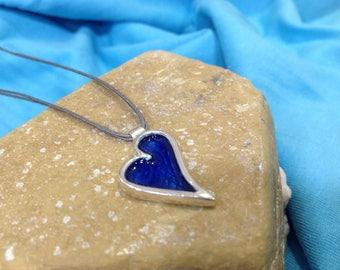 Silver handmade heart with blue enamel-Personalized blue enameled heart-Custom blue heart-Gift for her-Gift for Christmas-Gift for lovers