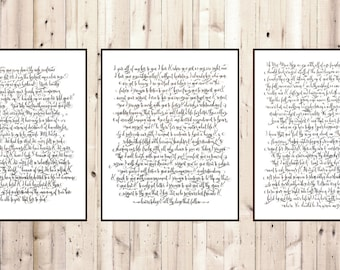 Handwritten Wedding Vows Wedding Calligraphy Wedding Song Lyrics Wedding Dance Lyrics First Anniversary Gift Paper Anniversary Gifts