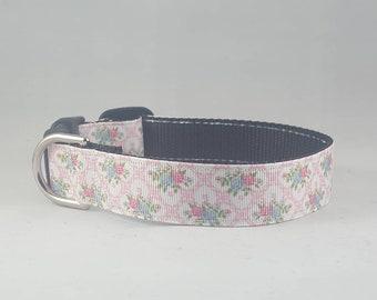 Floral Pink and Blue Elegant Adjustable Dog Collar