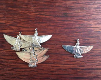 6 Vintage Pewter Goddess Charms