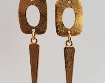 Gold Dangle Earrings with Darts