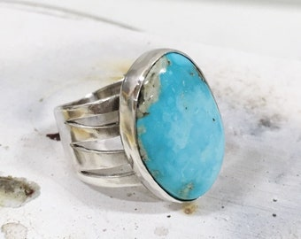Sterling silver bezel-set ring with US mined turquoise cabochon