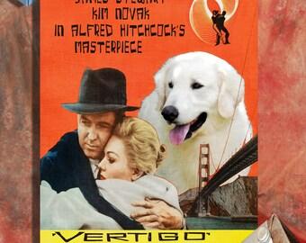Kuvasz Print Fine Art Canvas - Art Poster Canvas Print - Vertigo Movie Poster   Perfect DOG LOVER GIFT Gift for Her Gift for Him Home Decor