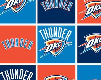 NBA OKC Oklahoma City Thunder Fleece Fabric V2 by the yard