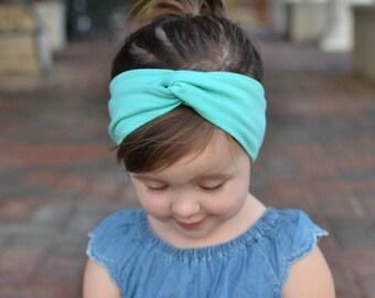 Mint Green Baby Turban Headband, Baby Girl Headwrap, Headband, Baby Turban, Headwrap, Adult Turban, Stretchy Headband,