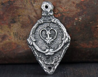 Handmade Pendant, Handcast, Pewter Jewelry, Craft Making Supplies No. 354PD