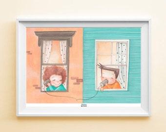 "Art Print ""Windows"" - Poster illustration with children, kids illustration, wall art"
