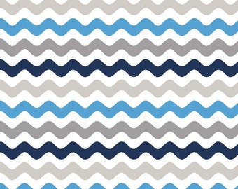 Blue and Gray Wave By Riley Blake 100% Cotton Fabric in 4th, Half 3/4 and Yard by Riley Blake for Quilting/ Sewing/  Applique/ Craft Sewing