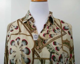 Brown Long Sleeve Ugly Shirt - Bold Pattern - Size S M 10 12 14 - Vintage