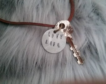 Leather necklace live life charm with key