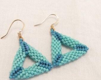 Earrings-Shaped peyote stitched triangles-blue earrings-handmade jewelry-seed bead jewelry-delica bead earrings-Diane Fitzgerald inspired-