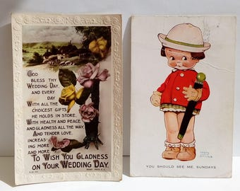 Set of two vintage postcards mabel lucie attwell wedding day