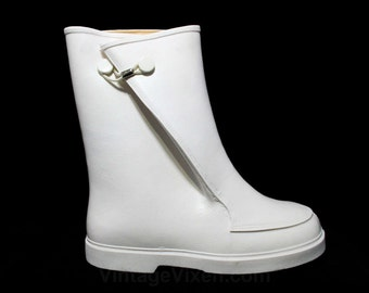 Child Size 11 White Galoshes - Authentic 1960s Child's Keds Rain Boots - Waterproof Rubber Overshoe - 60s Mid Century Deadstock - 43687-2