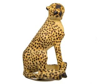 "African Sitting Cheetah Wood Carving Medium 21""-22"" tall (862-70-L-AS)"