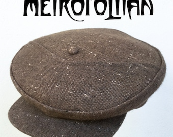 The METROPOLITAN - Bespoke 1910's Style Novelty Flat Cap in 1930s/40s Atomic-Fleck Tweed - 7 1/4""