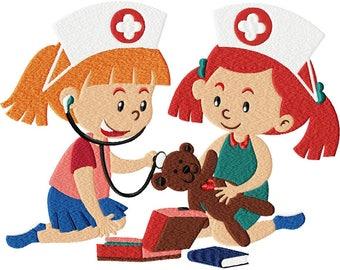 Nurses Embroidery Design File .vip .vp3 .hus .pes .pec .jef .sew .xxx .csd .dst .exp .emd .10o .pcs .pcm and More. 3 Sizes