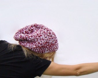 Crimson and White Slouch Hat, Crochet Beanie, Burgundy White Extra Slouchy Hat