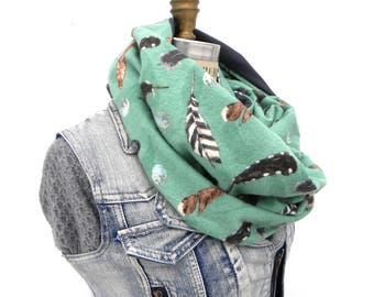 Chunky Infinity Scarf for Women - Feather Scarf - Turquoise Scarf - Lightweight Scarf - Circle Scarf - Teal Scarf - Grey Scarf - Large Scarf