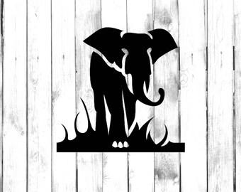 Majestic Elephant in Grasslands - Di Cut Decal - Home/Laptop/Computer/Truck/Car Bumper Sticker Decal