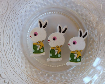 button Wood Green Bunny