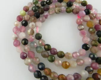 3mm Faceted Round Mixed Tourmaline Gemstone Beads - Full Strand, Natural