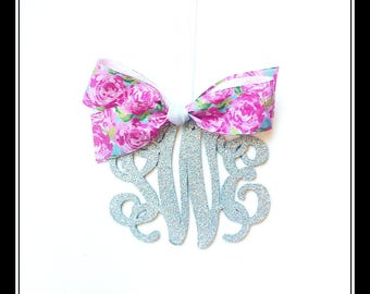 Rear view mirror charm, Rearview mirror Monogram, Rearview mirror accessories, preppy rose print Ribbon, preppy rose print
