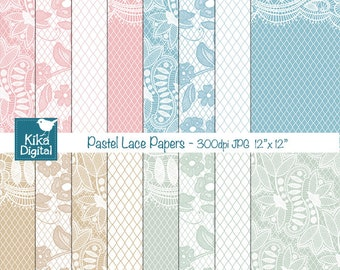 Pastel Lace Digital Papers - Digital Scrapbooking Papers - card design, invitations, background - INSTANT DOWNLOAD