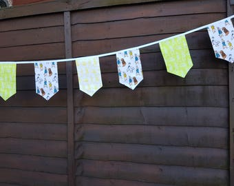 Fabric Bunting - 3 m/10 ft  with 14 double sided flags - Peter Rabbit Lime Green Yellow Cotton  Celebration Nursery Decor Baby Shower