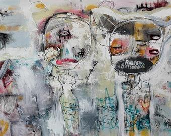 Abstract Painting Art Print. surreal figures, Art Brut wall art, devil horns, modern art, contemporary art, outsider art, graffiti style