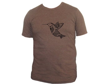 Unisex Brown Hummingbird Adult  Tshirt PolyCotton Tee Small Medium or Large