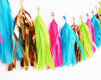 Hot Pink, Lime Green, Turquoise, and Rose Gold Tassel Garland   Tassel Banner   Pink and Green Party Decor   Party Supplies   Birthday Party