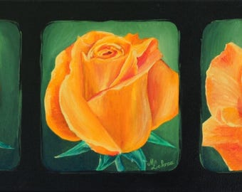 Gift for mother's day - acrylic painting on canvas: pink triptych
