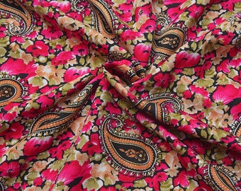 Black-Pink and Green Paisley Design Crepe Fabric-F8091