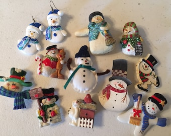 Winter Wonderland Snow Snowmen Collection Brooches Pins Earrings Vintage lot 117
