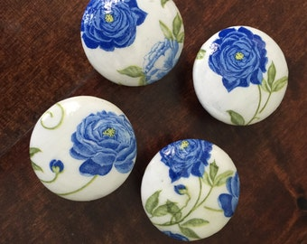 1.5 inch knob, blue peony, floral knobs, blue knobs, blue peonies, decoupaged, cabinet knobs, drawer pulls, EACH SOLD SEPARATELY