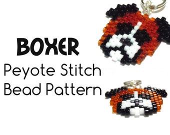 Boxer Dog Bead Patterns, Peyote / Brick Stitch Bead Weaving, Delica Bead Pattern   DIGITAL DOWNLOAD