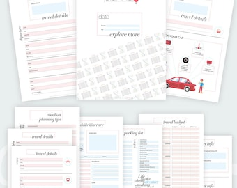 Travel Planner Bundle Printable, Vacation Planner, Packing List, Travel Checklist, Itinerary, Trip Journal, Travel Budget