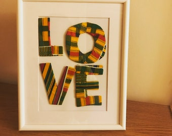 Wall Frame with LOVE, african inspired LOVE design Frame