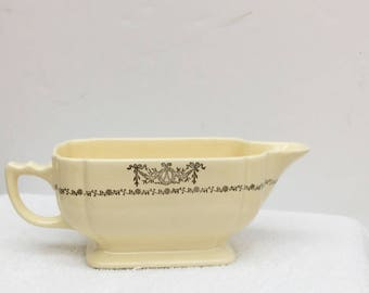 Old Homer Laughlin Gravy Sauce  Boat Century Eggshell Or Ivory Silver Wreath Ribbons Bows Swags Tiny Curlycues Made in U.S.A. Late 1930s