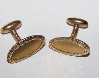 Beautiful  VINTAGE Bean-Back Cuff Links Marked GLP CO