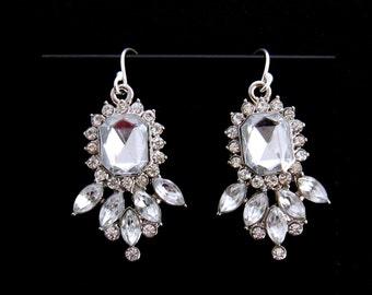 Special Occasion Earrings, Rhinestone Bridal Earrings, Edwardian Jewelry, Clear Crystal Earrings, Sterling Silver Rhinestone Wedding Jewelry